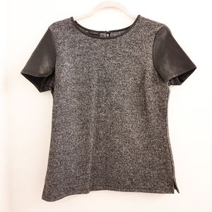 Talbots Gray Wool Blend Top Faux Leather Sleeves